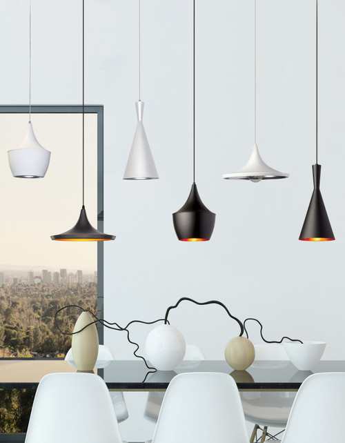 Dainolite Lighting  HKI-81P-WH 1 Light Incandescent Pendant, Matte White w/Silver Pebbled Interior