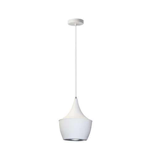 Dainolite Lighting  HKI-91P-WH 1 Light Pendant, Matte White / Silver