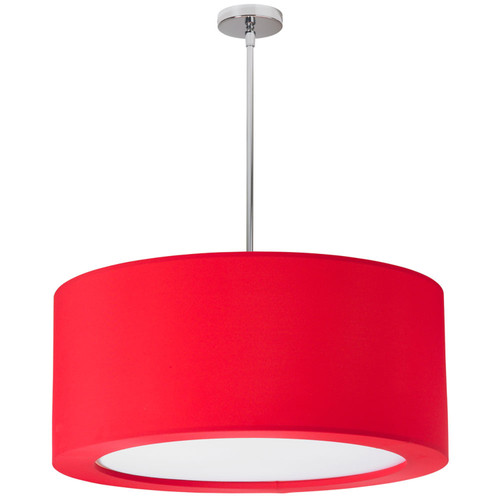 Dainolite Lighting  JAS-25P-PC-927 4 Light Polished Chrome Pendant with Red Lycra Shade with Diffuser