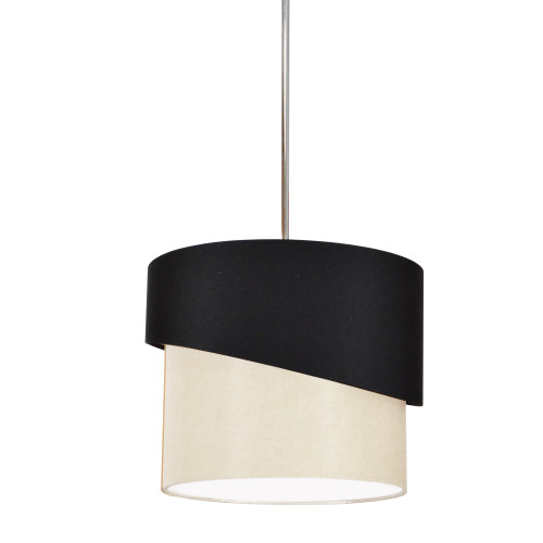 Dainolite Lighting  JAZ141-PC-797-839 1 Light Jazlynn Pendant, Black on Cream Shade w/ 790 Diff