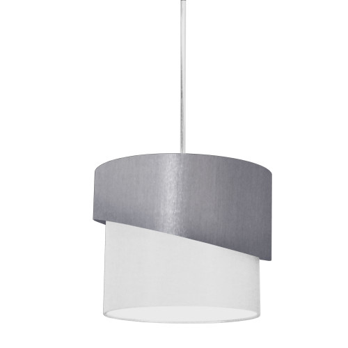 Dainolite Lighting  JAZ141-PC-835-790 1 Light Jazlynn Pendant, Grey on White Shade w/ 790 Diff
