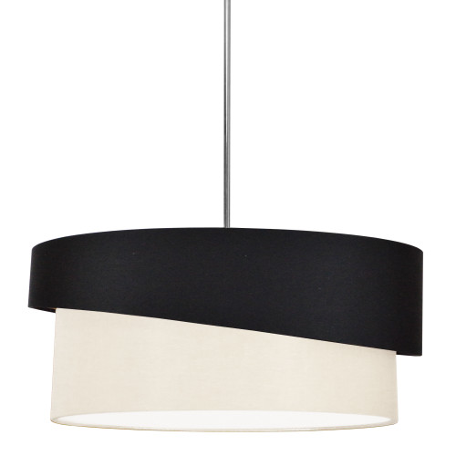 Dainolite Lighting  JAZ243-PC-797-839 3 Light Jazlynn Pendant, Black on Cream Shade w/ 790 Diff