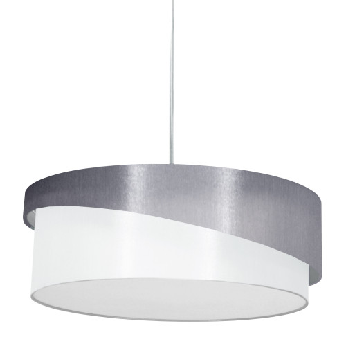 Dainolite Lighting  JAZ243-PC-835-790 3 Light Jazlynn Pendant, Grey on White Shade w/ 790 Diff