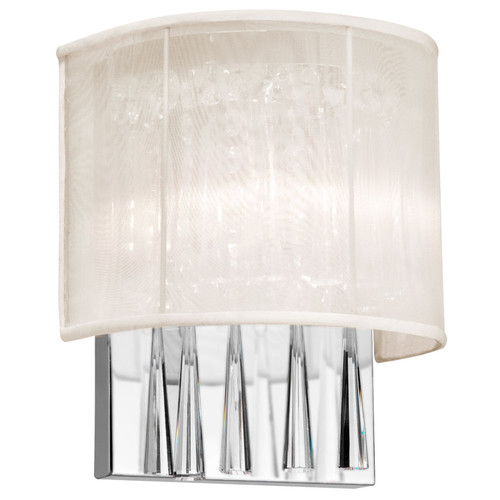 Dainolite Lighting  JOS72-W-PC-117 2 Light Crystal Wall Sconce with Oyster Shade