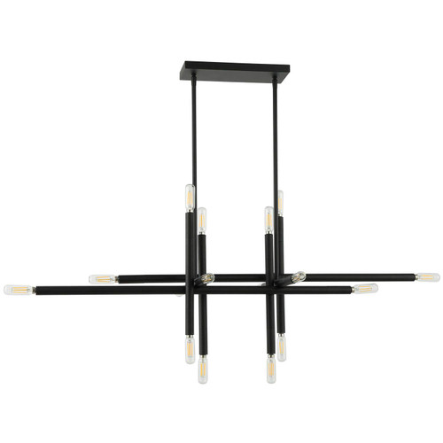 Dainolite Lighting  KAN-4016HP-MB 16 Light Incandescent Horizontal Pendant, Matte Black