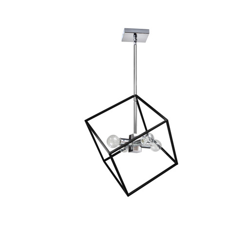 Dainolite Lighting  KAP-144P-PC-MB 4 Light Pendant, Polished Chrome / Matte Black Finish