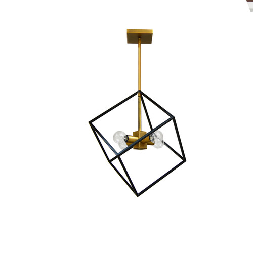 Dainolite Lighting  KAP-144P-VB-MB 4 Light Pendant, Vintage Bronze / Matte Black Finish