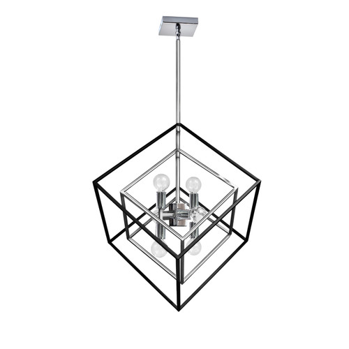 Dainolite Lighting  KAP-196P-PC-MB 6 Light Pendant, Polished Chrome / Matte Black Finish