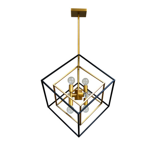 Dainolite Lighting  KAP-196P-VB-MB 6 Light Pendant, Vintage Bronze / Matte Black Finish
