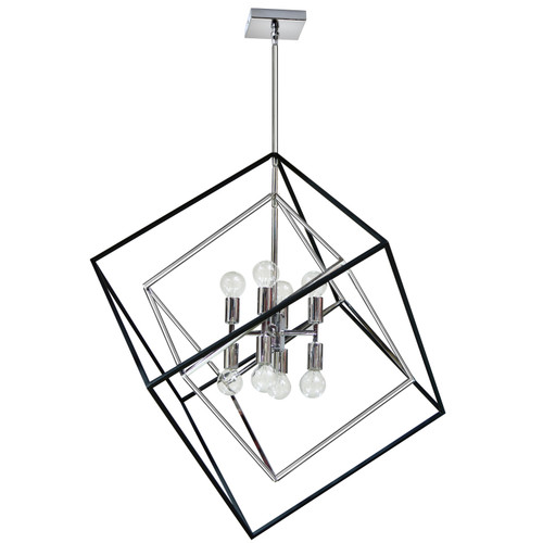 Dainolite Lighting  KAP-278P-PC-MB 8 Light Pendant, Polished Chrome / Matte Black Finish