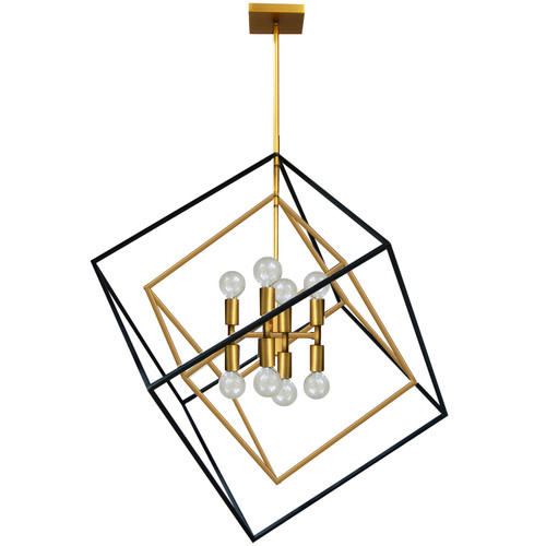 Dainolite Lighting  KAP-278P-VB-MB 8 Light Pendant, Vintage Bronze / Matte Black Finish