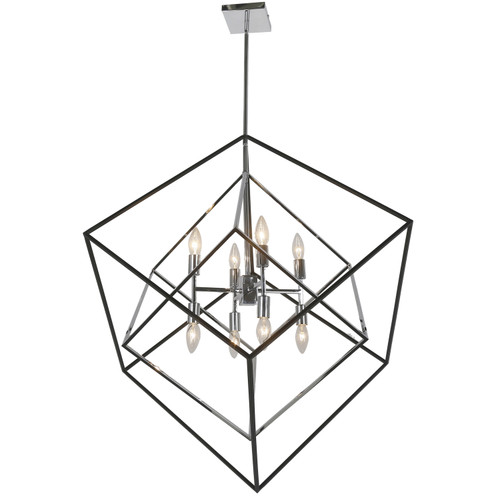 Dainolite Lighting  KAP-308P-PC-MB 8 Light Incandescent Pendant, Polished Chrome and Black Finish
