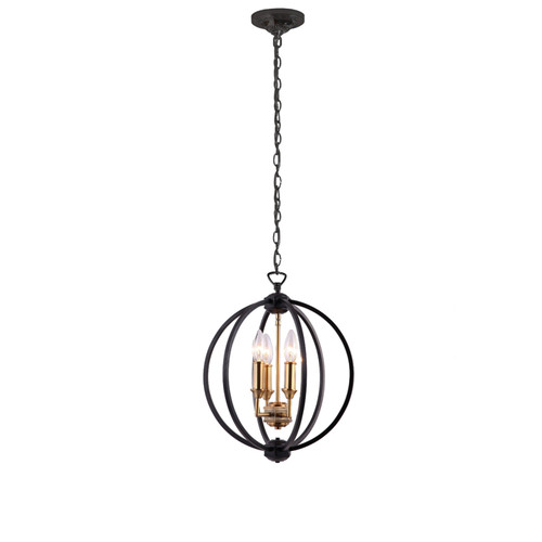 Dainolite Lighting  KAR-143C-BK 3 Light Chandelier, Matte Black / Vintage Bronze Accents