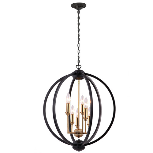 Dainolite Lighting  KAR-246C-BK 6 Light Chandelier, Matte Black / Vintage Bronze Accents