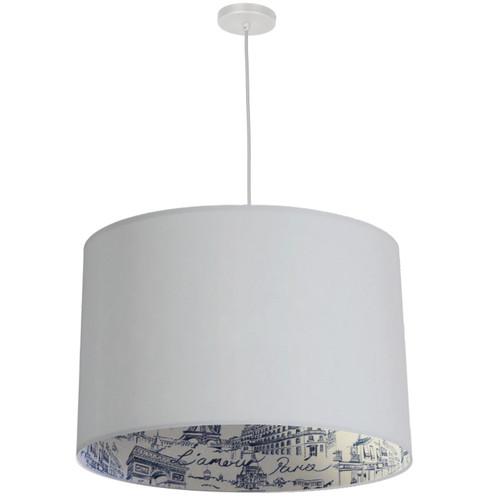 Dainolite Lighting  KAT-241P-WH-AMOUR 3 Light Drum Pendant, White w/ White  Amour Shade