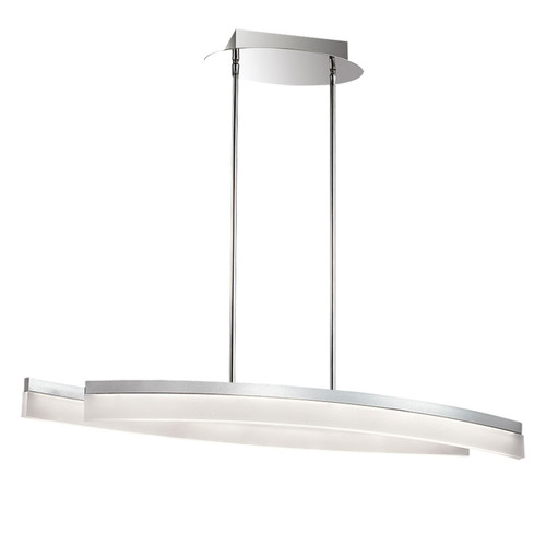 Dainolite Lighting  KEP-36HP-SV LED Horizontal Pendant, Silver/Polished Chrome, Frosted White Diffuser