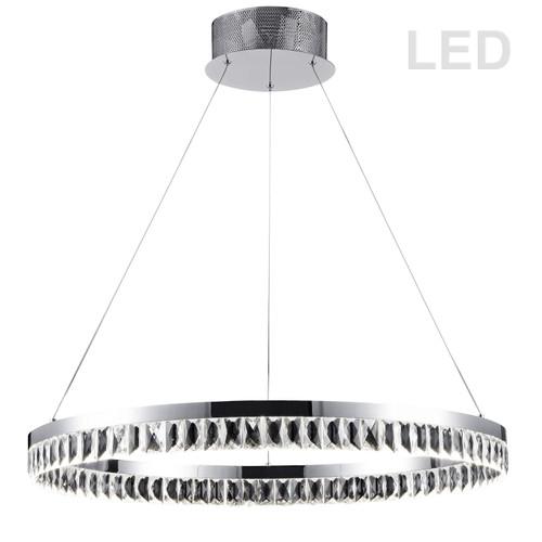Dainolite Lighting  KIM-31C-PC 57W LED Round Pendant, Polished Chrome Finish with Crystals hanging