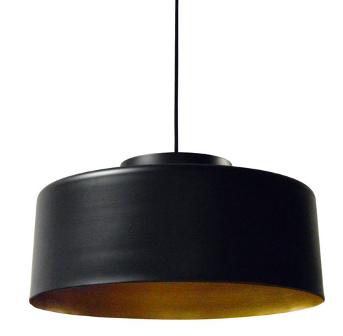 Dainolite Lighting  KUP-201P-BK-GLD 1 Light Metal Pendant, Black and Gold Finish