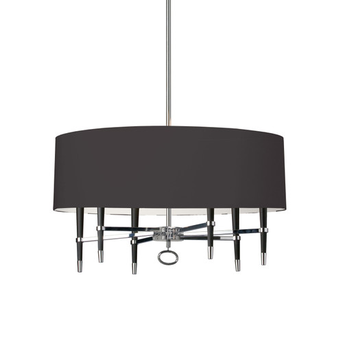 Dainolite Lighting  LAN-246C-PC-BK 6 Light Incandescent Chandelier, Polished Chrome, Black Shade