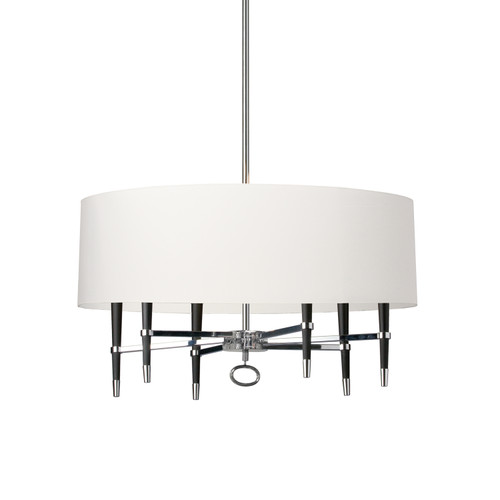 Dainolite Lighting  LAN-246C-PC-WH 6 Light Incandescent Chandelier, Polished Chrome, White Shade