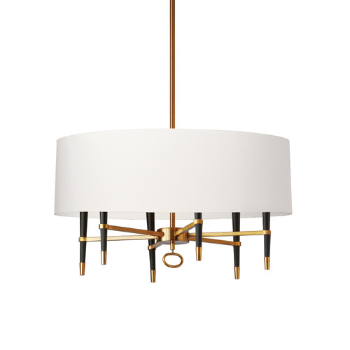 Dainolite Lighting  LAN-246C-VB-WH 6 Light  Incandescent Chandelier, Vintage Bronze, White Shade