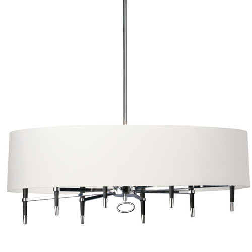 Dainolite Lighting  LAN-408HC-PC-WH 8 Light Inncandescent Horizontal Chandelier, Polished Chrome, White Shade