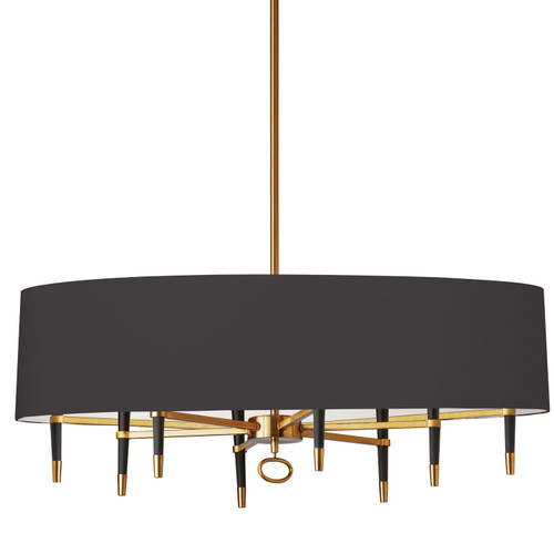 Dainolite Lighting  LAN-408HC-VB-BK 8 Light Incandescent Horizontal Chandelier, Vintage Bronze, Black Shade