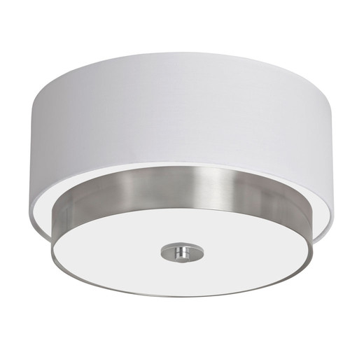 "Dainolite Lighting  LAR-143FH-SC 14"" Flush Mount Satin Chrome Finish with White Shade"