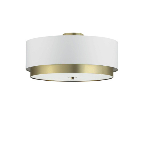 Dainolite Lighting  LAR-203FH-AGB 4 Light Flush Mount, Aged Brass with White Shade, Frosted Glass Diffuser