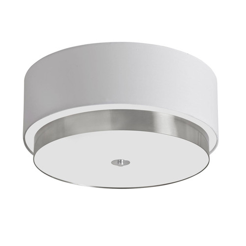 "Dainolite Lighting  LAR-203FH-SC 20"" Flush Mount Satin Chrome Finish with White Linen Shade"