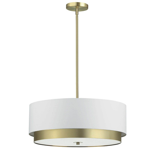 Dainolite Lighting  LAR-204LP-AGB 4 Light Large Pendant, Aged Brass with White Shade, Frosted Glass Diffuser