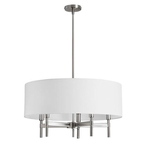 Dainolite Lighting  LAR-245C-SC 5 Light Chandelier with White Drum Shade Satin Chrome Finish