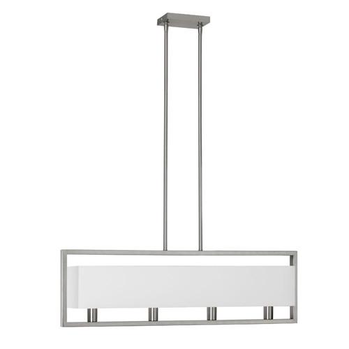 Dainolite Lighting  LAR-323-SC 4 Light Satin Chrome Horizontal Pendant with White Linen Shade