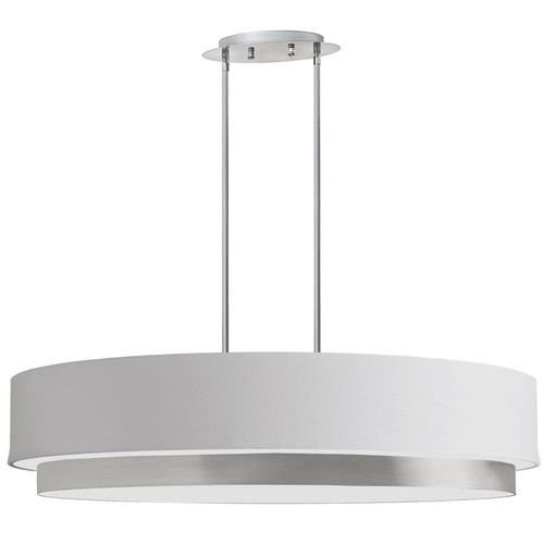 Dainolite Lighting  LAR-324-SC 4 Light Oval Pendant, Satin Chrome Finish