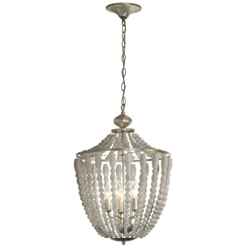 Dainolite Lighting  LAU-175C-PG 5 Light Chandelier, White Washed Wood with Palladium Gold Trim