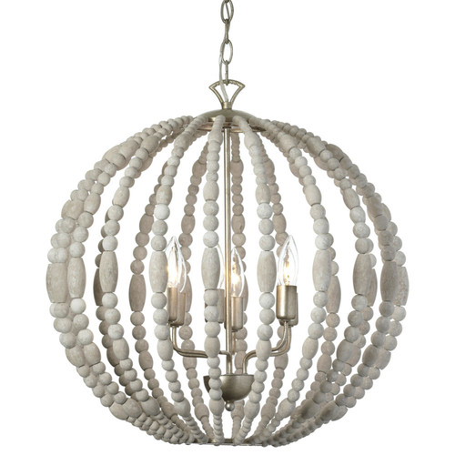 Dainolite Lighting  LAU-216C-PG 6 Light Chandelier, White Washed Wood with Palladium Gold Trim