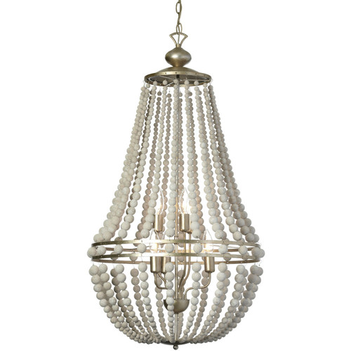 Dainolite Lighting  LAU-386C-PG 6 Light Chandelier, White Washed Wood with Palladium Gold Trim