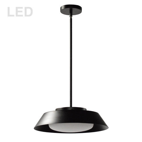 Dainolite Lighting  LDN-1516LEDP-MB 16W LED Pendant, Matte Black with White Glass