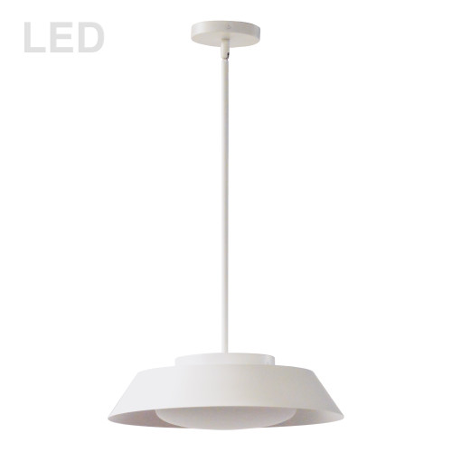 Dainolite Lighting  LDN-1516LEDP-MW 16W LED Pendant, Matte White with White Glass