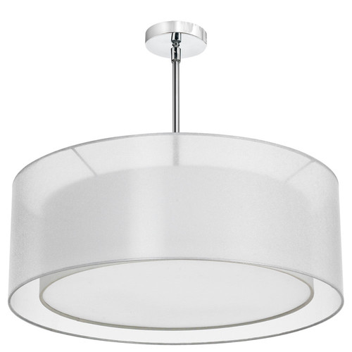 Dainolite Lighting  MEL307-819-790-PC 4 Light Pendant, Polished Chrome, Shade within Shade, Outside Shade White Laminated Organza, Inside Shade White Linen