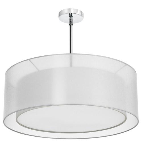 Dainolite Lighting  MEL307-819-790-PC 4 Light Pendant, Polished Chrome, Shade within Shade, Outside Shade White Laminated Organza, Inside Shade White Linen
