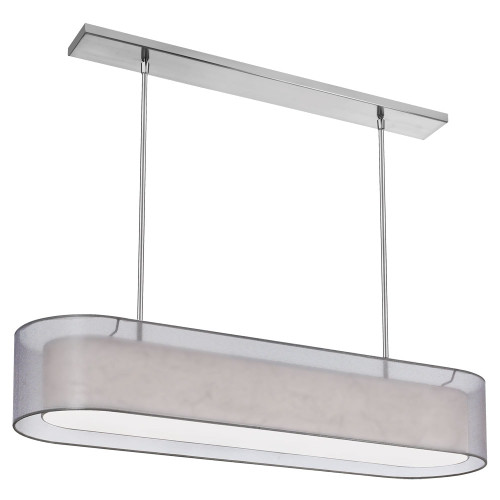 Dainolite Lighting  MEL448-814-790-PC 4 Light Pendant, Shade within Shade, Silver & White with 790 Diffuser