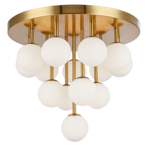 Dainolite Lighting  MGL-2014FH-AGB 14 Light Halogen Flush Mount, Aged Brass w/Opal Glass