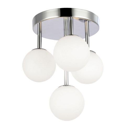 Dainolite Lighting  MGL-94FH-PC 4 Light Halogen Flush Mount, Polished Chrome w/Opal Glass