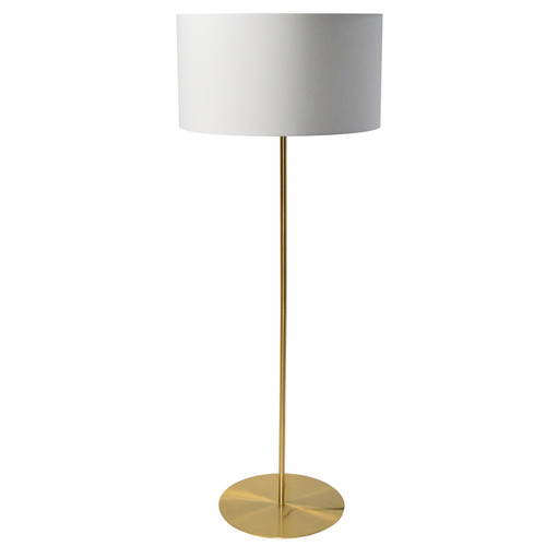 Dainolite Lighting  MM221F-AGB-790 1 Light Drum Floor Lamp with White Shade Aged Brass