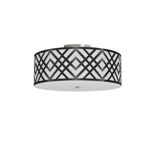 Dainolite Lighting  MON-153FH-PC-BW 3 Light Flush Mount, Polished Chrome Finish, Black/White Shade