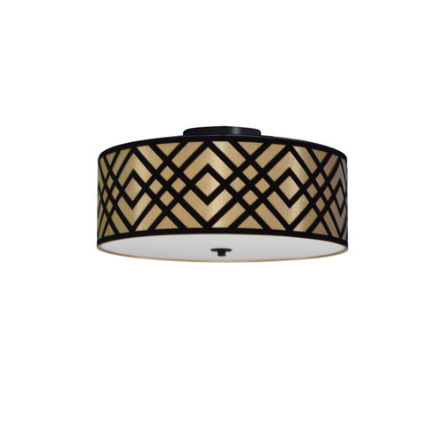 Dainolite Lighting  MON-153FH-PC-GBK 3 Light Flushmount, Polished Chrome Finish, Black/Gold Shade