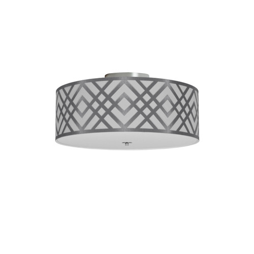 Dainolite Lighting  MON-153FH-PC-SV 3 Light Flushmount, Polished Chrome Finish, Silver Shade