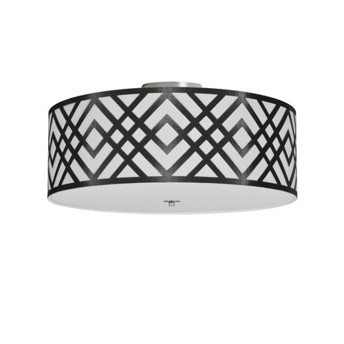 Dainolite Lighting  MON-184FH-PC-BW 4 Light Flushmount, Polished Chrome Finish, Black/White Shade