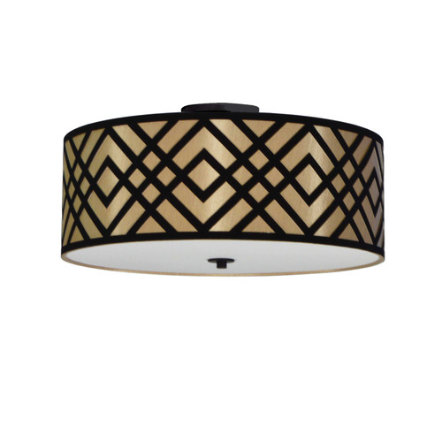 Dainolite Lighting  MON-184FH-PC-GBK 4 Light Flush Mount, Polished Chrome Finish, Black/Gold Shade
